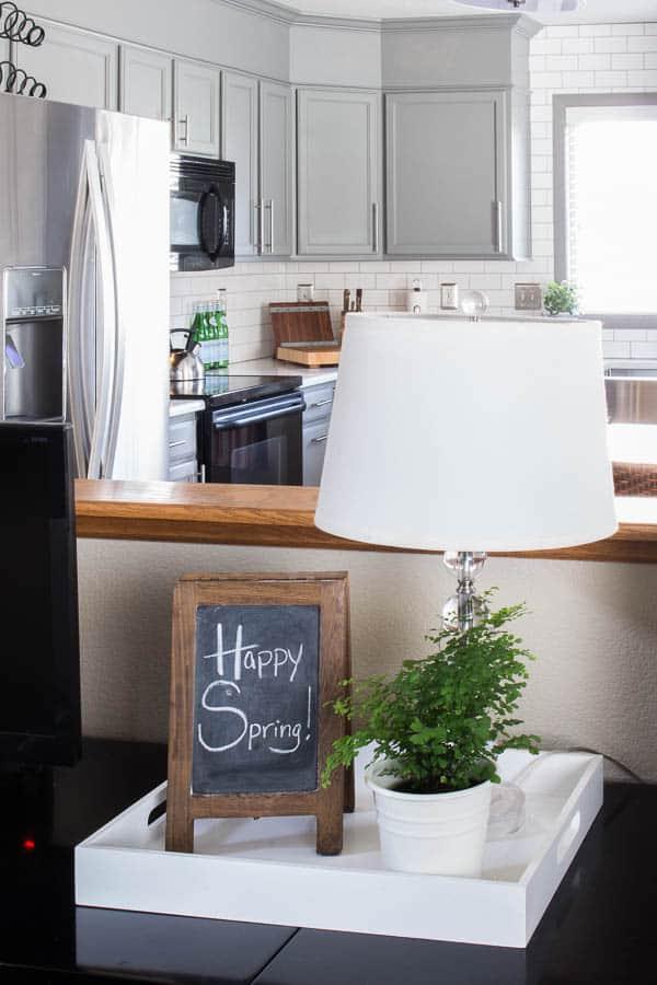 Spring Home Tour - desk lamp, chalkboard, fern