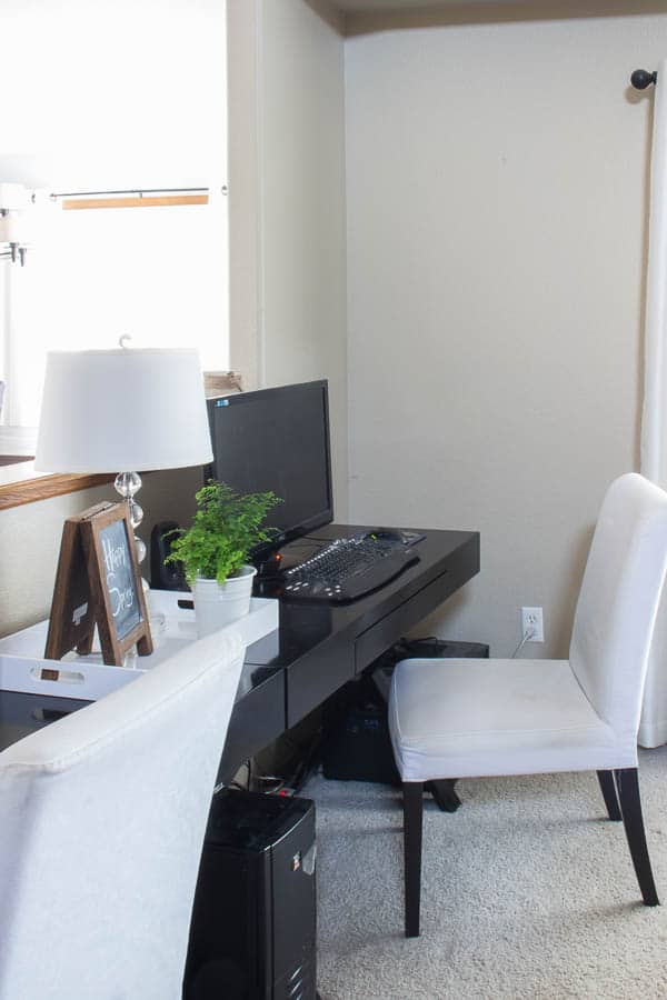 Spring Home Tour - black desk with white chair