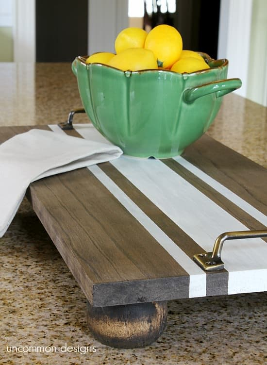DIY ticking striped wooden serving tray