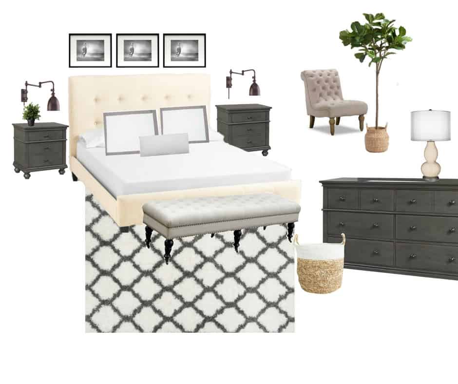 A design plan for the master bedroom that will create a space of style, comfort and coziness. Complete with beautiful bedroom furniture and elegant bedding.