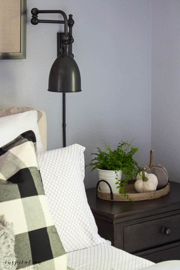 Welcome to my simple, but cozy Fall Home Tour -- master bedroom, grey bedroom, fall decor, buffalo check, neutral bedding, bedroom wall sconces