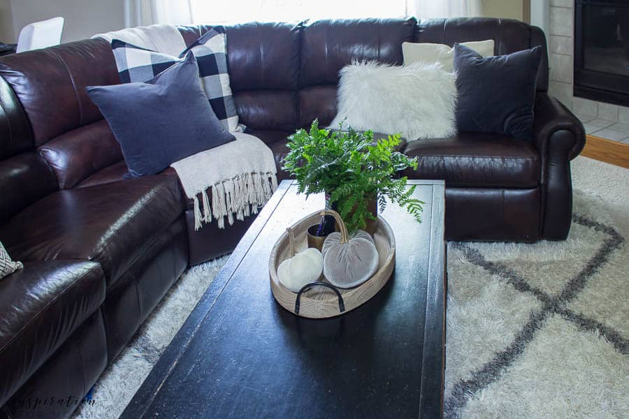 Welcome to a neutral Fall home tour with white pumpkins and plenty of cozy touches. fall living room, buffalo check, velvet pumpkins