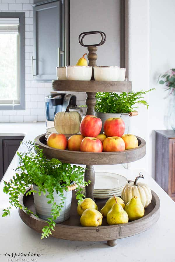 Welcome to my simple, but cozy Fall Home Tour -- white subway tile, modern wood tray, tiered tray, grey cabinets, kitchen