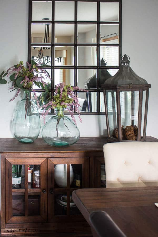 Welcome to my simple, but cozy Fall Home Tour -- dining room, pumpkin centerpiece, fall decor, recycled vases, lantern