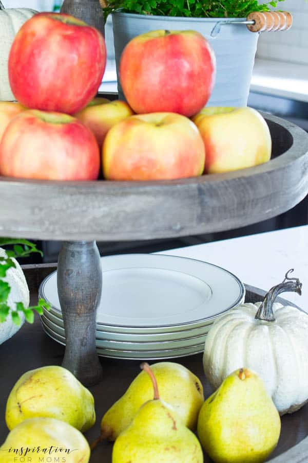 Welcome to my simple, but cozy Fall Home Tour -- white subway tile, modern wood tray, tiered tray, grey cabinets, kitchen, fall decor