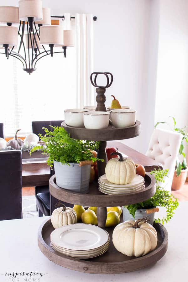 Welcome to my simple, but cozy Fall Home Tour -- white subway tile, modern wood tray, tiered tray, dining room, kitchen, fall decor