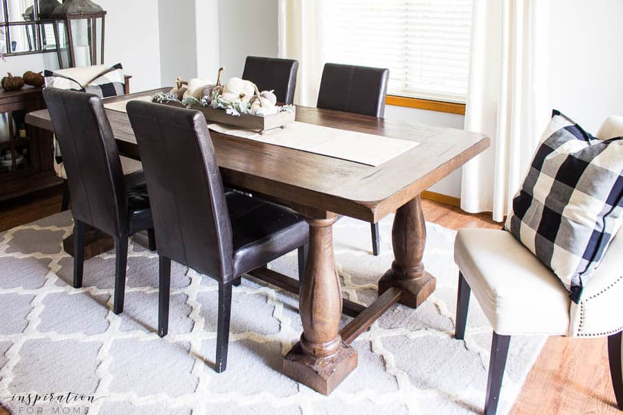 Welcome to my simple, but cozy Fall Home Tour -- dining room, pumpkin centerpiece, fall decor, buffalo check