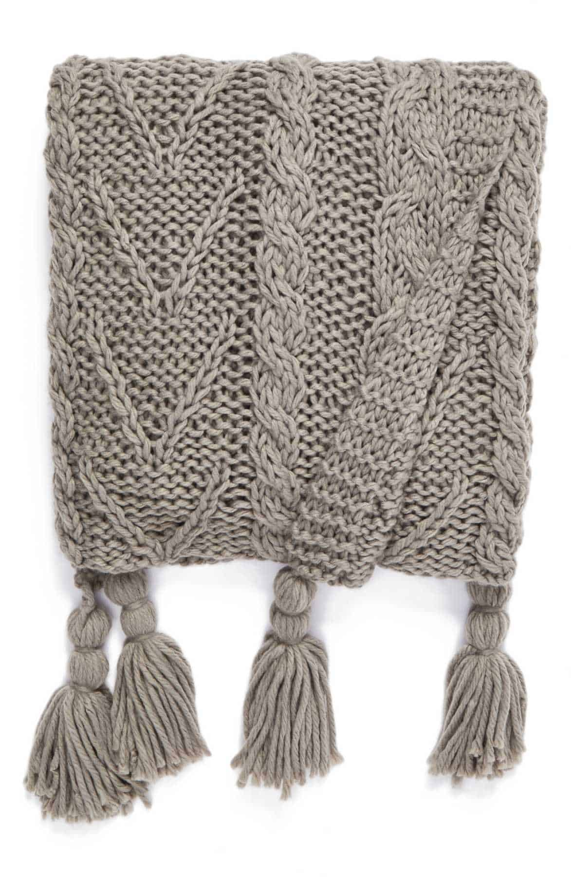 This cable knit tassel throw is great for the couch on cool Fall days!