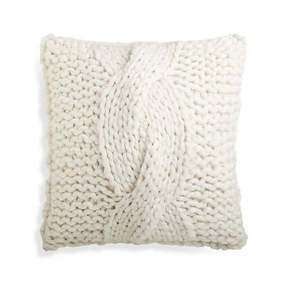 Cozy knit ivory pillow is perfect for Fall decor. So cozy!