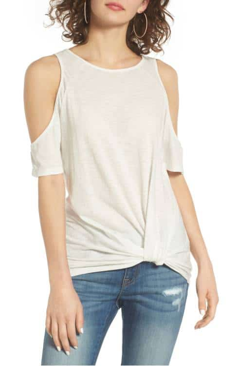 Twist front cold shoulder tee -- great for layering this Fall!