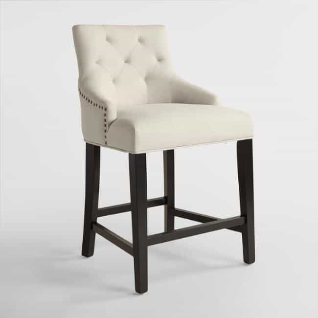 Linen upholstered counter height stools and they are on sale!