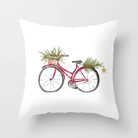 This red Christmas Bicycle Pillow is adorable!