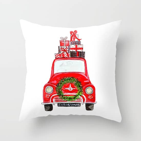 Love this red Christmas car pillow! Perfect for Christmas!