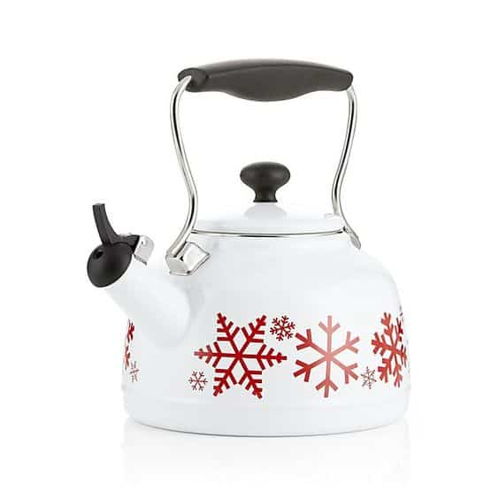 What a fun teak kettle! Love the red snowflakes!