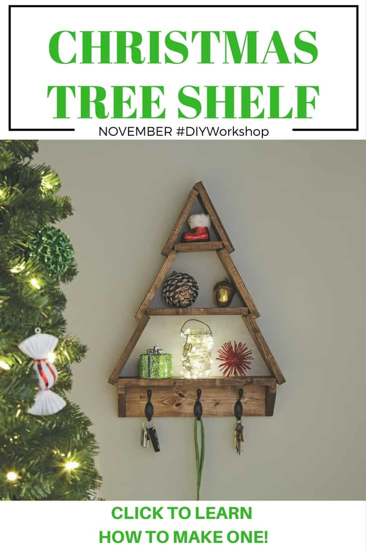 Learn how to make your own Christmas Tree Shelf. Perfect for the holidays!