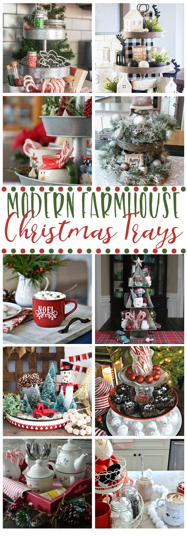 See how fabulous bloggers decorate their farmhouse trays for Christmas!