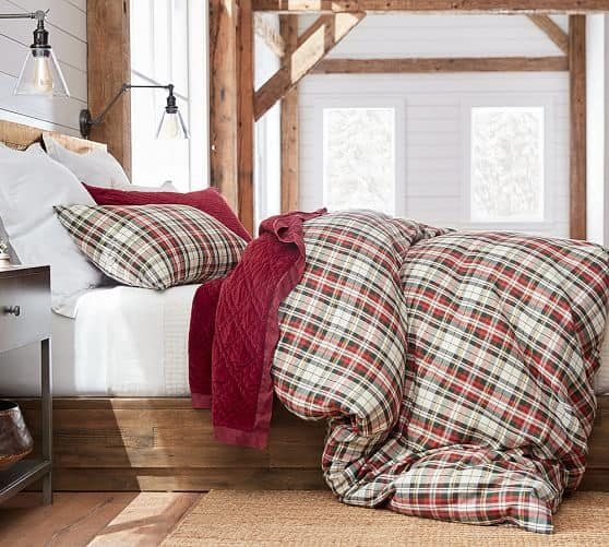 Love this Denver plaid bedding! So pretty for the holidays!