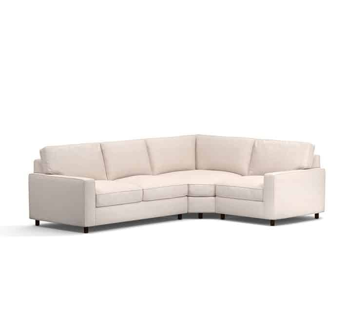 This sectional is on a great sale! Love the style and those square arms!