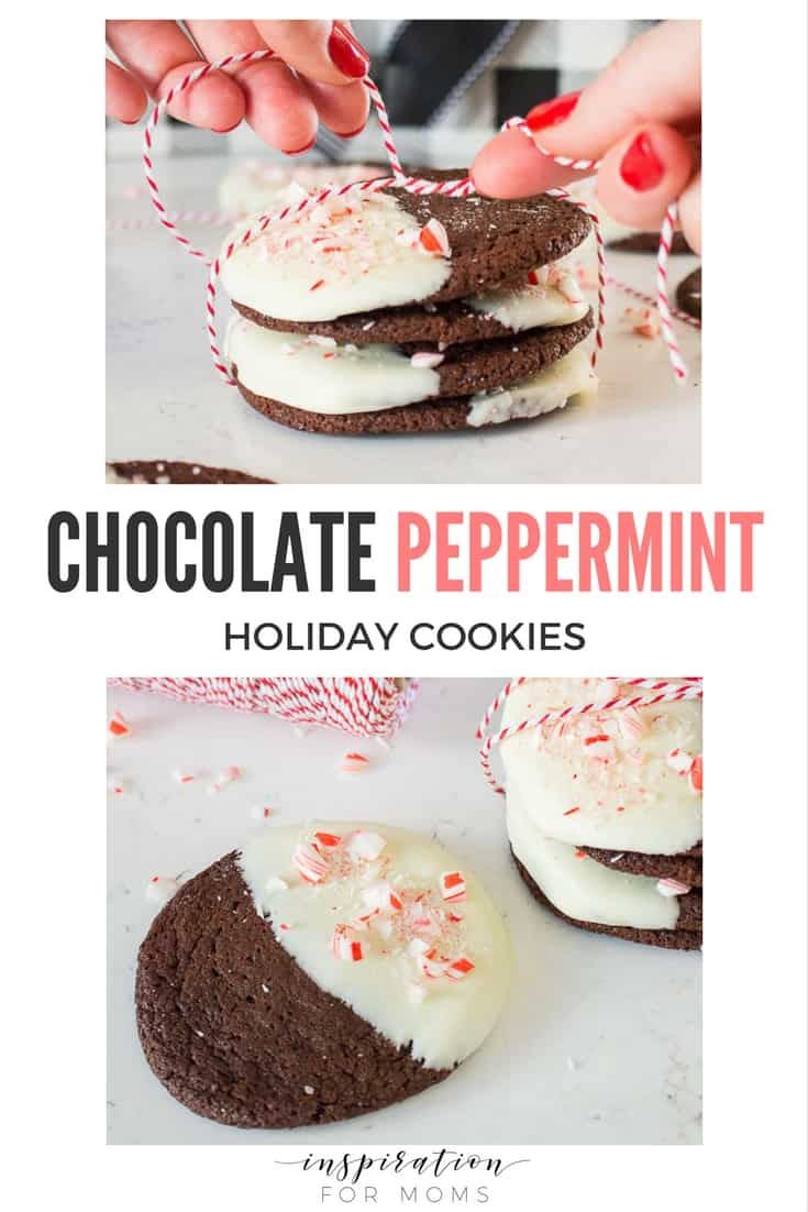 These Chocolate Peppermint Cookies are the perfect holiday treat. Dipped in white chocolate and sprinkled with peppermint candy, they are sure to be hit!