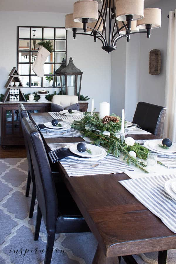 Neutral Christmas Home Tour with Black and White Theme - Dining Room