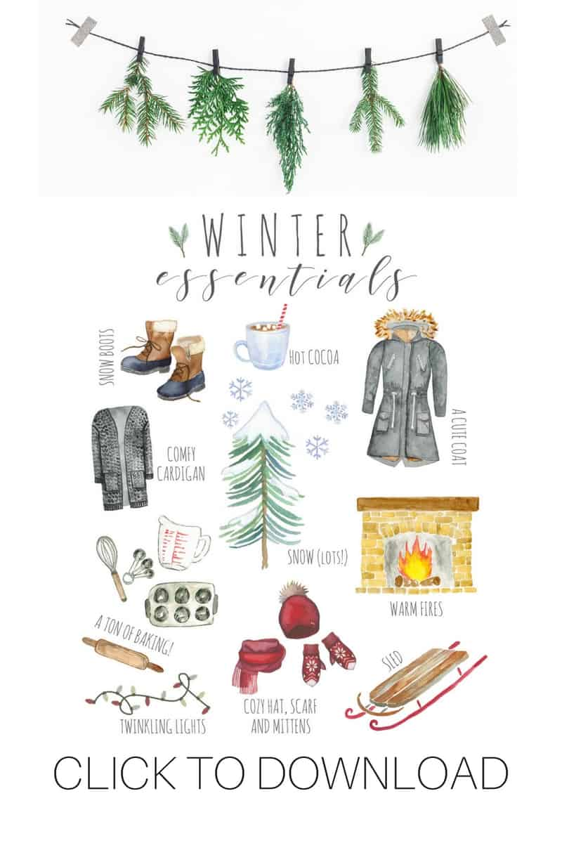 Welcome the beautiful snowy season with this Winter Essentials printable art.