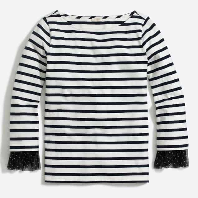 Love this long sleeved stripped shirt with dotted cuffs. So cute!