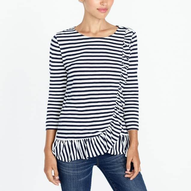 Love this asymmetrical ruffle long sleeve top! Too cute!
