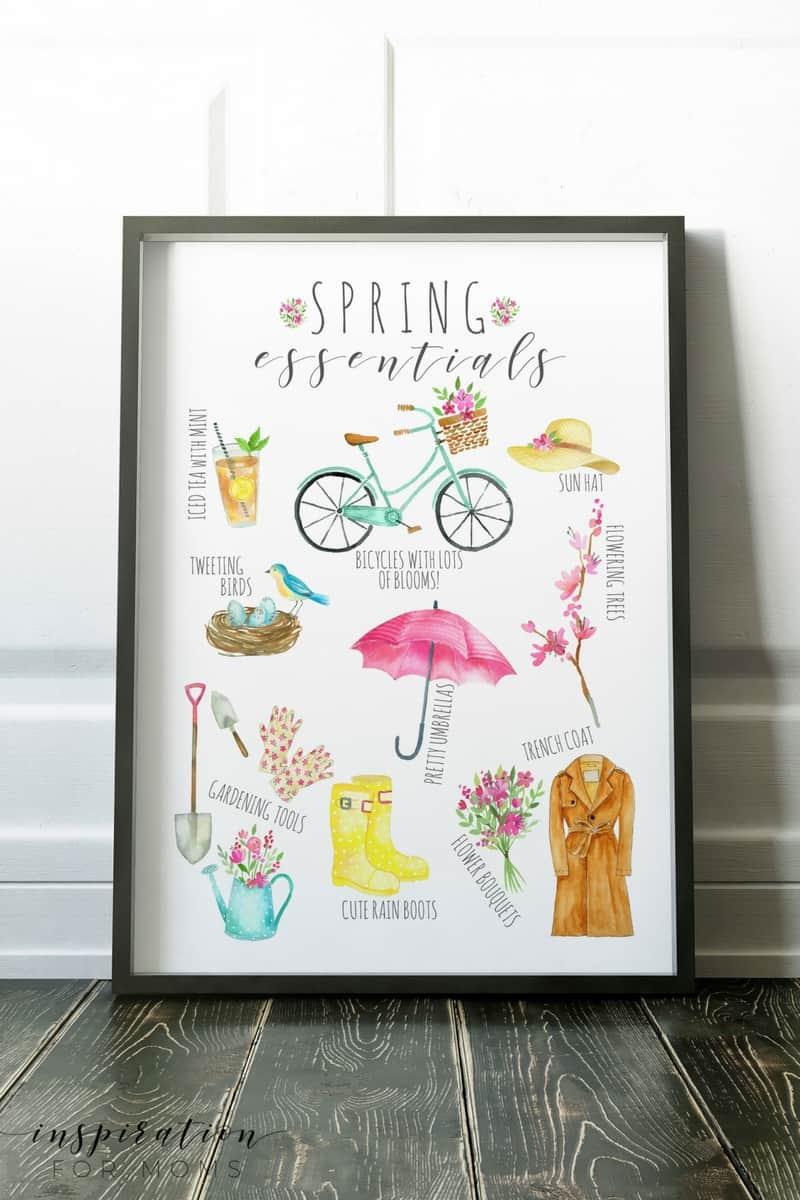 Spring Essentials printable free in frame