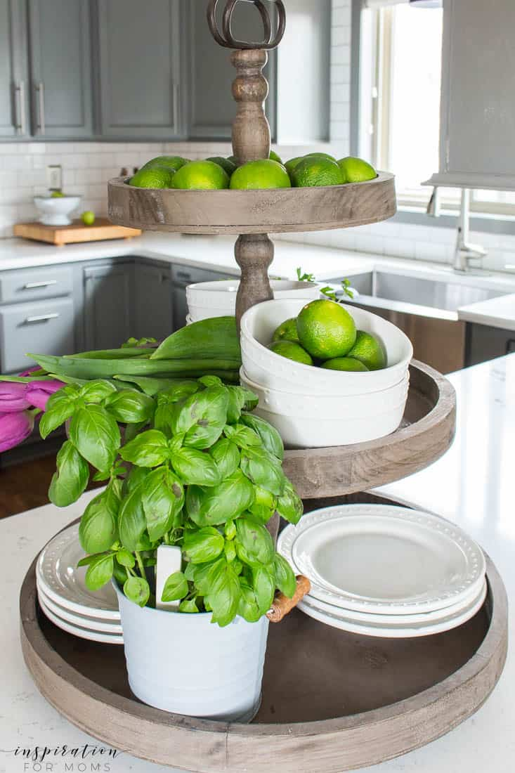 Kitchen and Dining Room Spring Tour with Decorated Tiered Tray with Herbs
