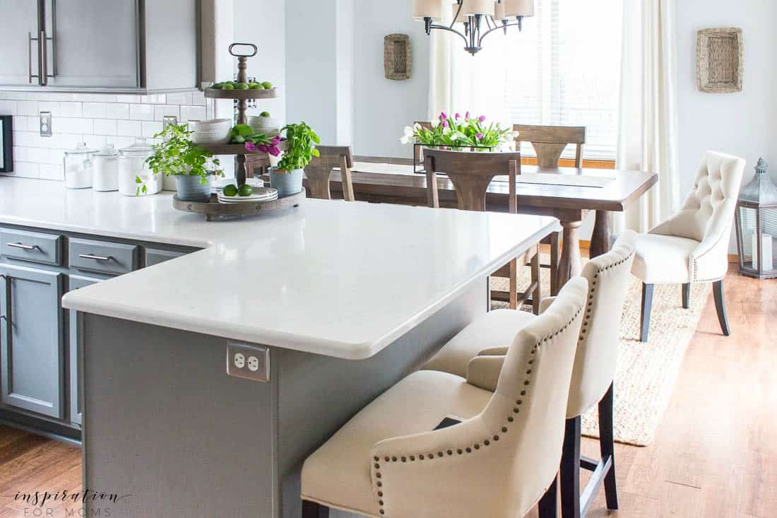 Kitchen and Dining Room Spring Tour with Decorated Tiered Tray Tulip Centerpiece