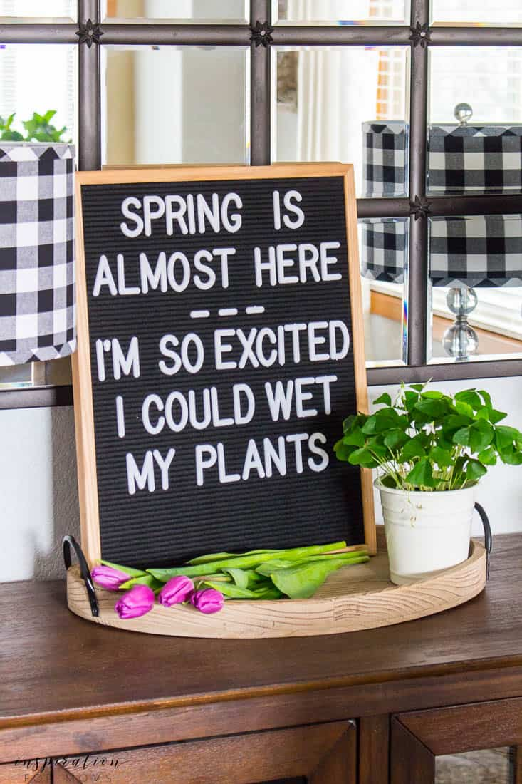 Kitchen and Dining Room Spring Tour Letterboard Spring Quote