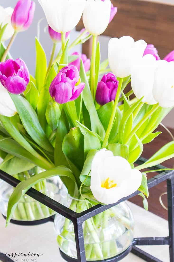 Kitchen and Dining Room Spring Tour with Tulip Flower Centerpiece