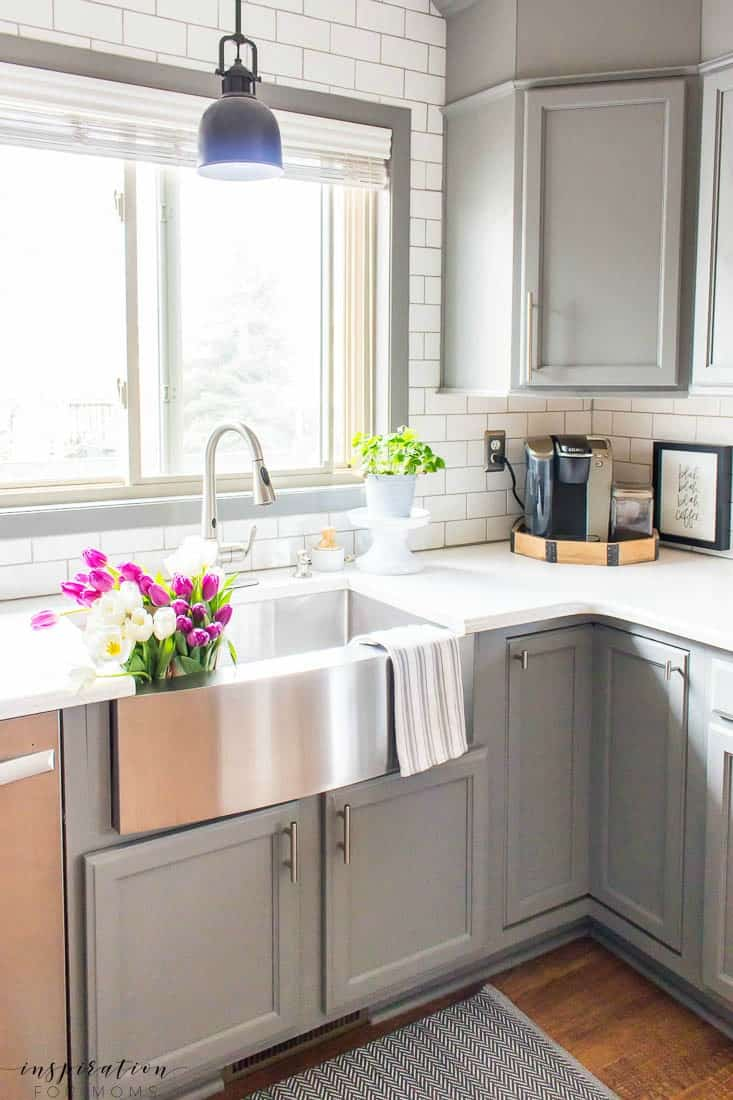 Kitchen and Dining Room Spring Tour Farmhouse Sink Grey Cabinets Subway Tile