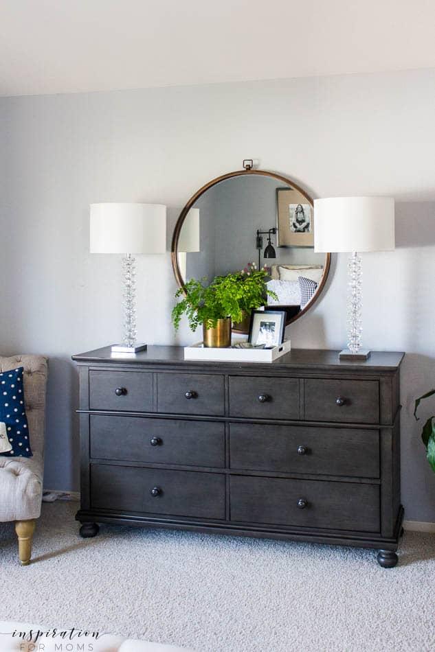 spring master bedroom black dresser crystal lamps large round mirror