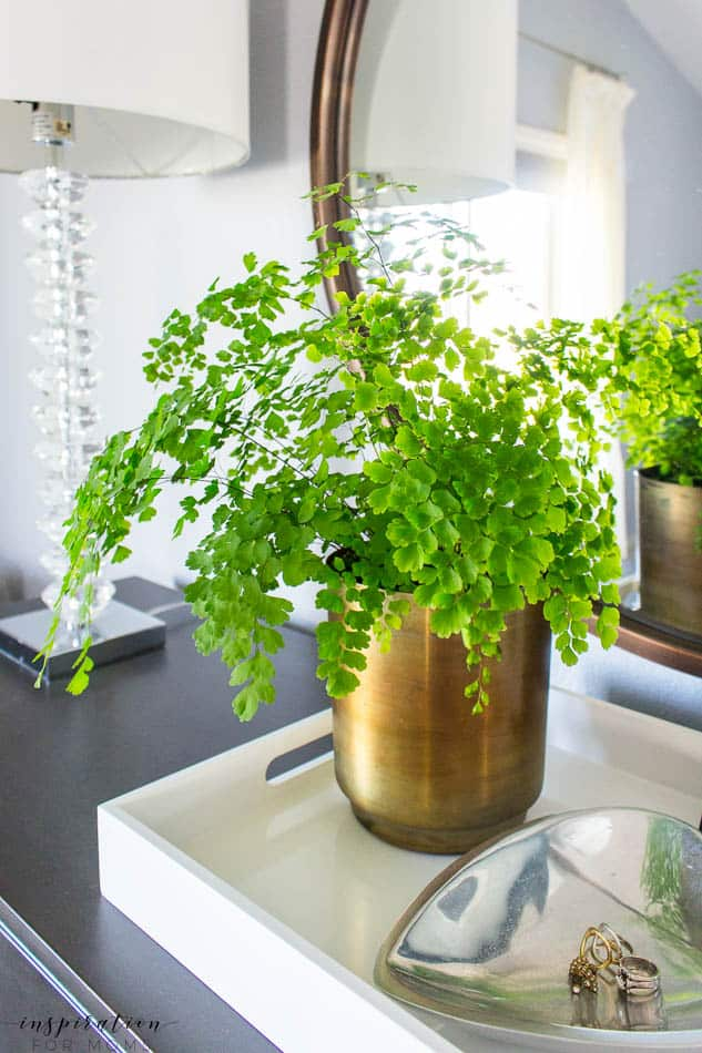 summer home tour master bedroom gray neutral decor maidenhair fern