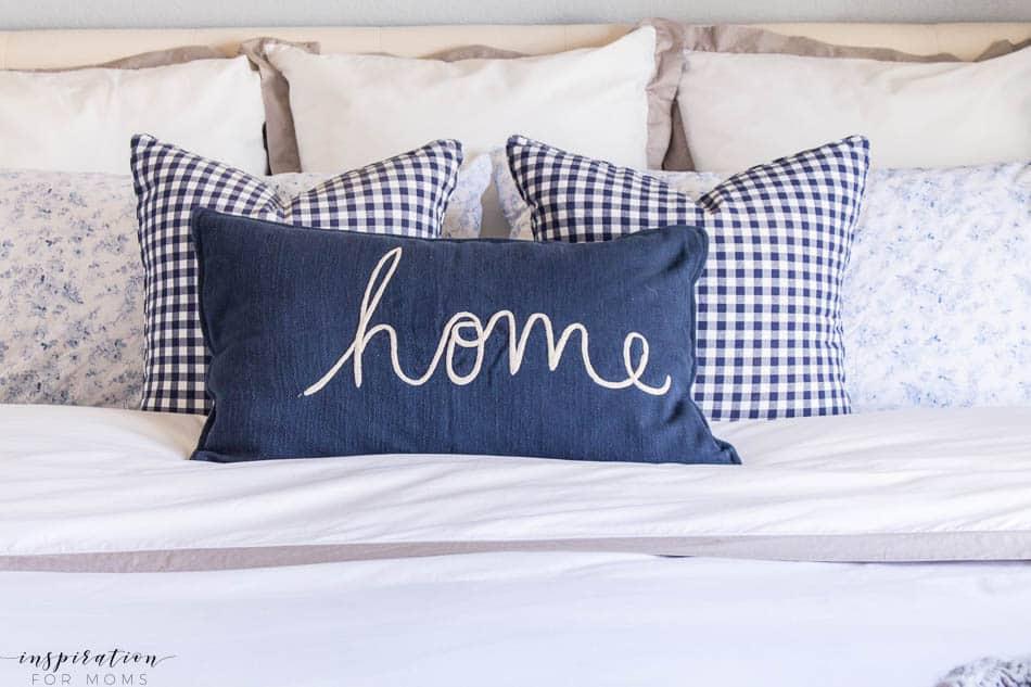 spring master bedroom gingham pillows navy white gray