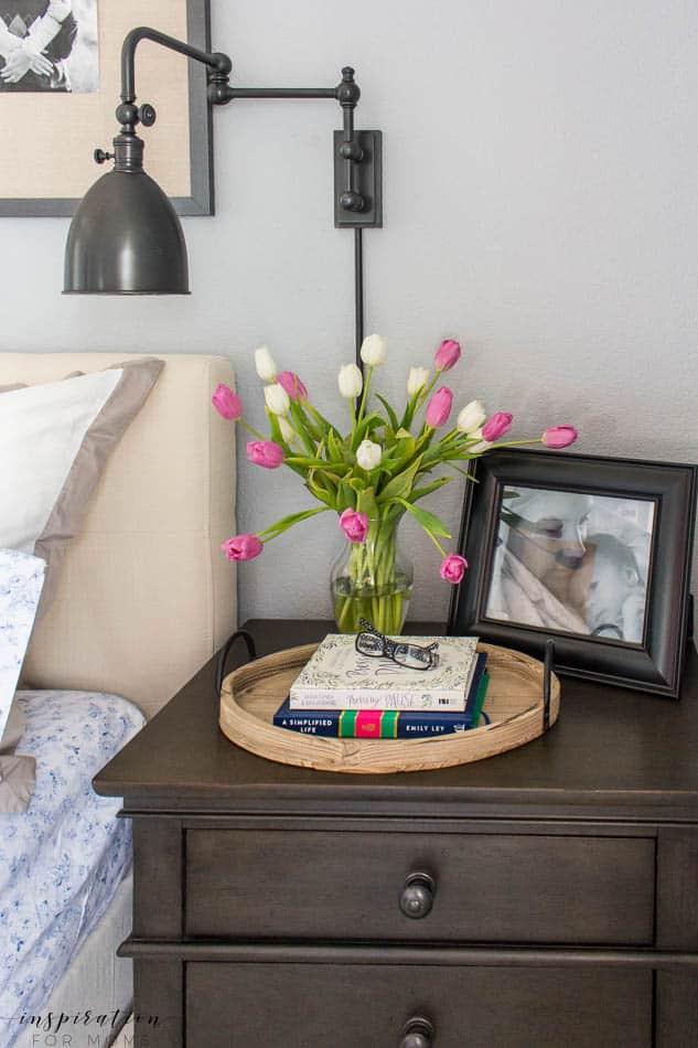 spring master bedroom nightstand sconce tulips
