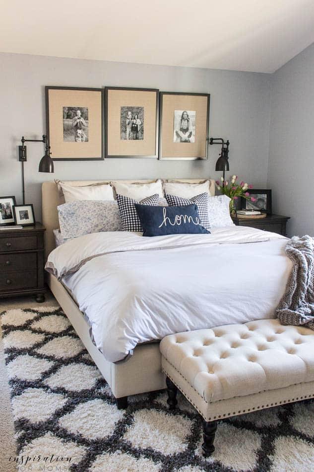 spring master bedroom neutral bedroom with blue