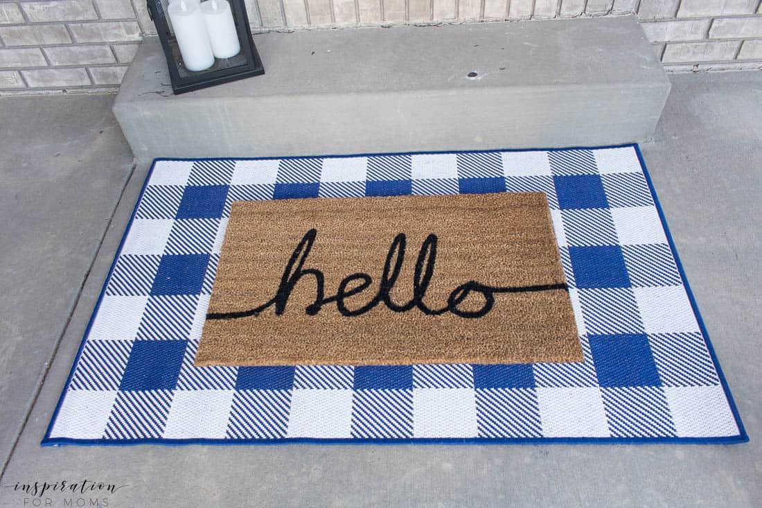 five easy tips to get your front porch spring ready navy buffalo check rug hello door mat