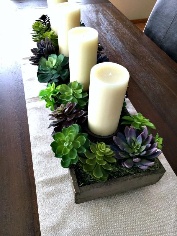 spring succulent garden idea in wood box