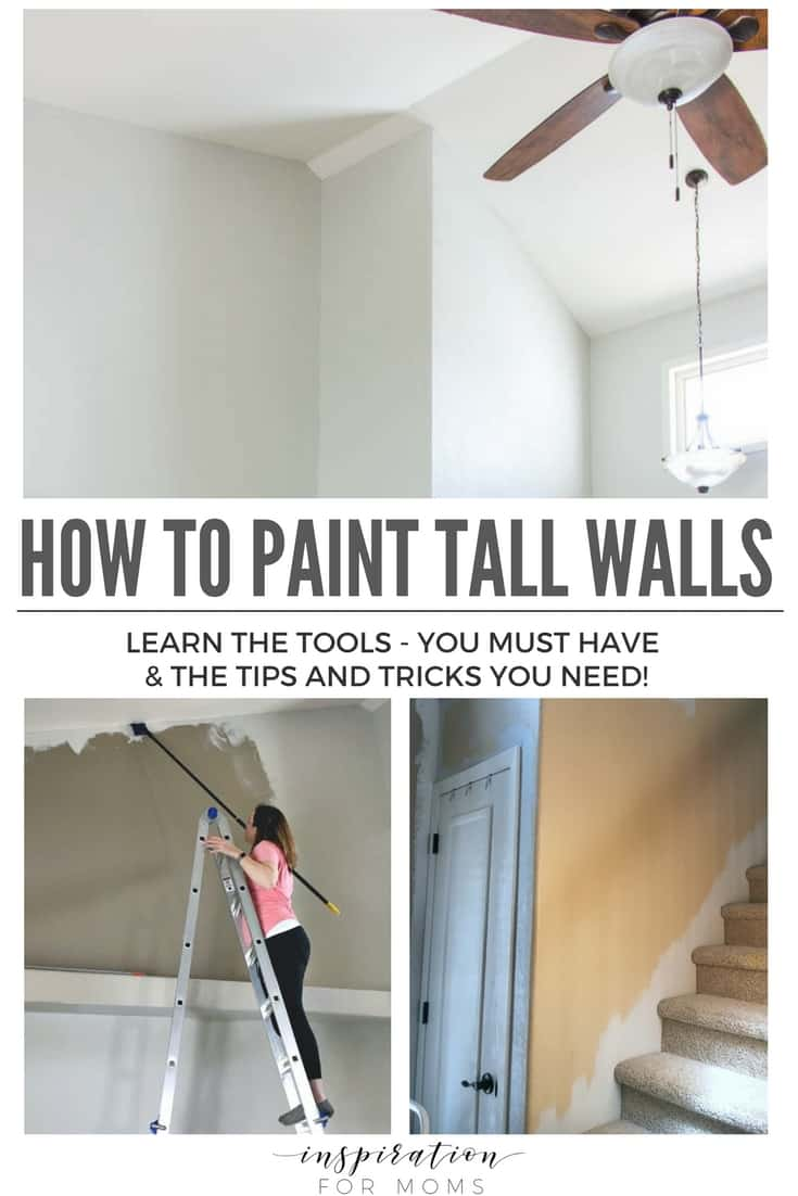 I wanted to make a rather simple DIY change to our home, but painting vaulted walls always made me hesitate. But once I got the right tools, I discovered the easiest way to paint tall walls. This is the tutorial with all the tips and tricks you will need to tackle those tall walls! #painting #howto #tallwalls