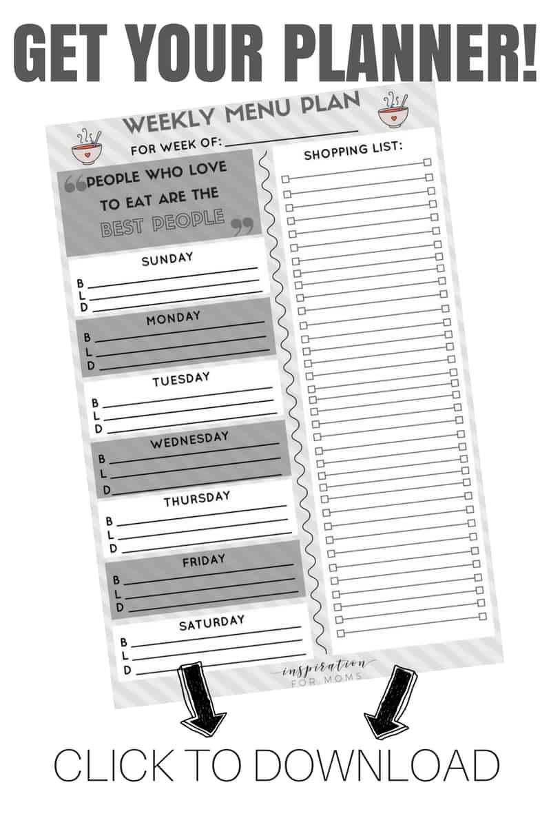 Get your weekly menu plan printable and start shedding pounds!