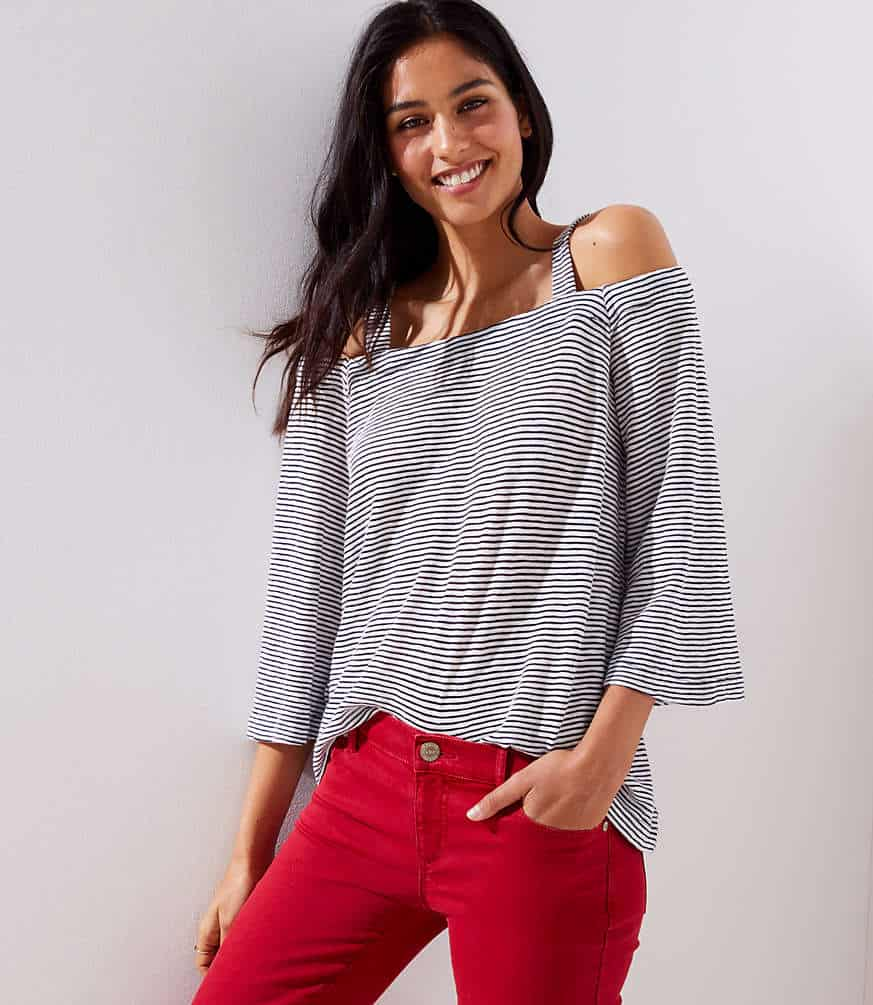 Love this striped cold shoulder top! So cute for this summer!
