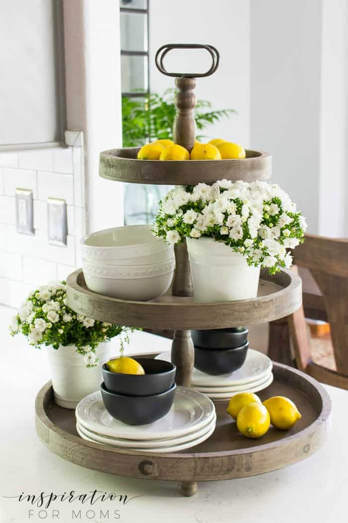 summer home tour kitchen gray cabinets white subway tile farmhouse sink tiered tray