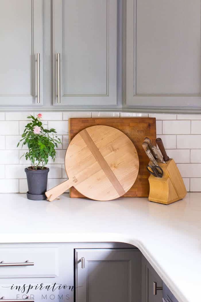 summer home tour kitchen gray cabinets white subway tile wood bread board