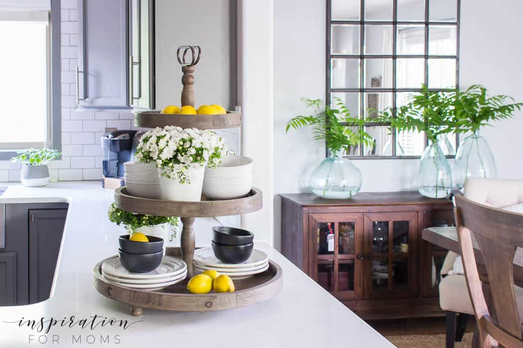 summer home tour kitchen gray cabinets white subway tile farmhouse sink dining room