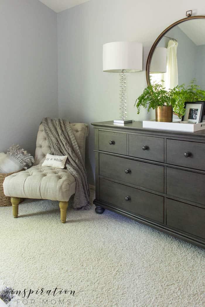summer home tour master bedroom gray neutral decor gray dresser round mirror