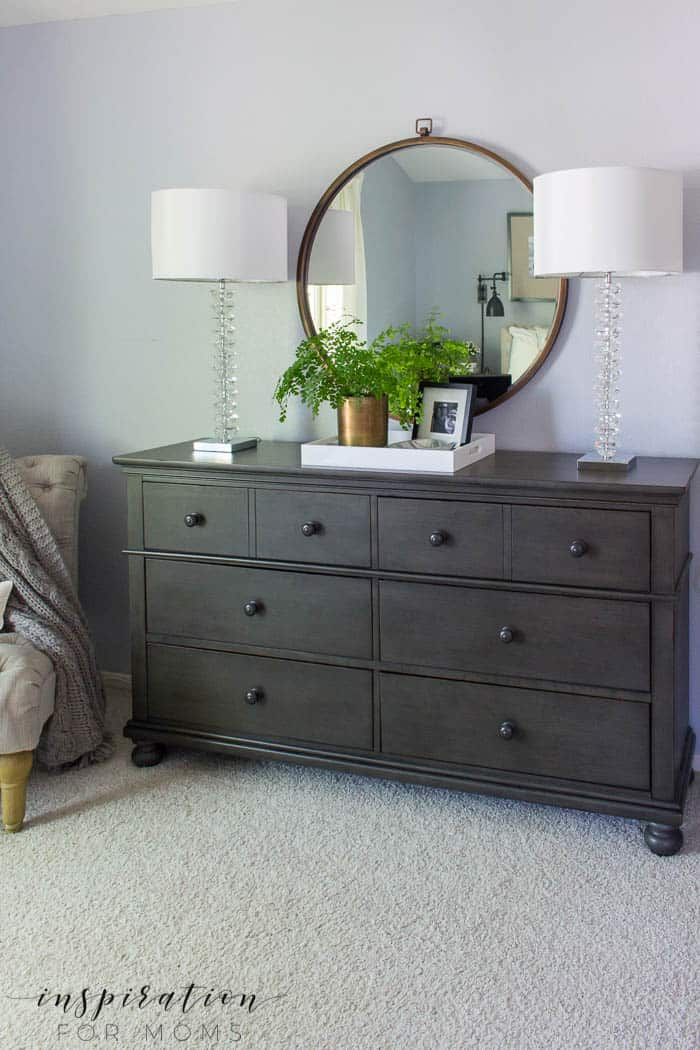 summer home tour master bedroom gray neutral decor gray dresser large round mirror
