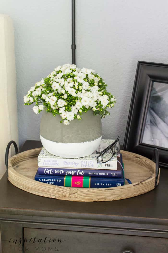 summer home tour master bedroom gray neutral decor bedside table night stand