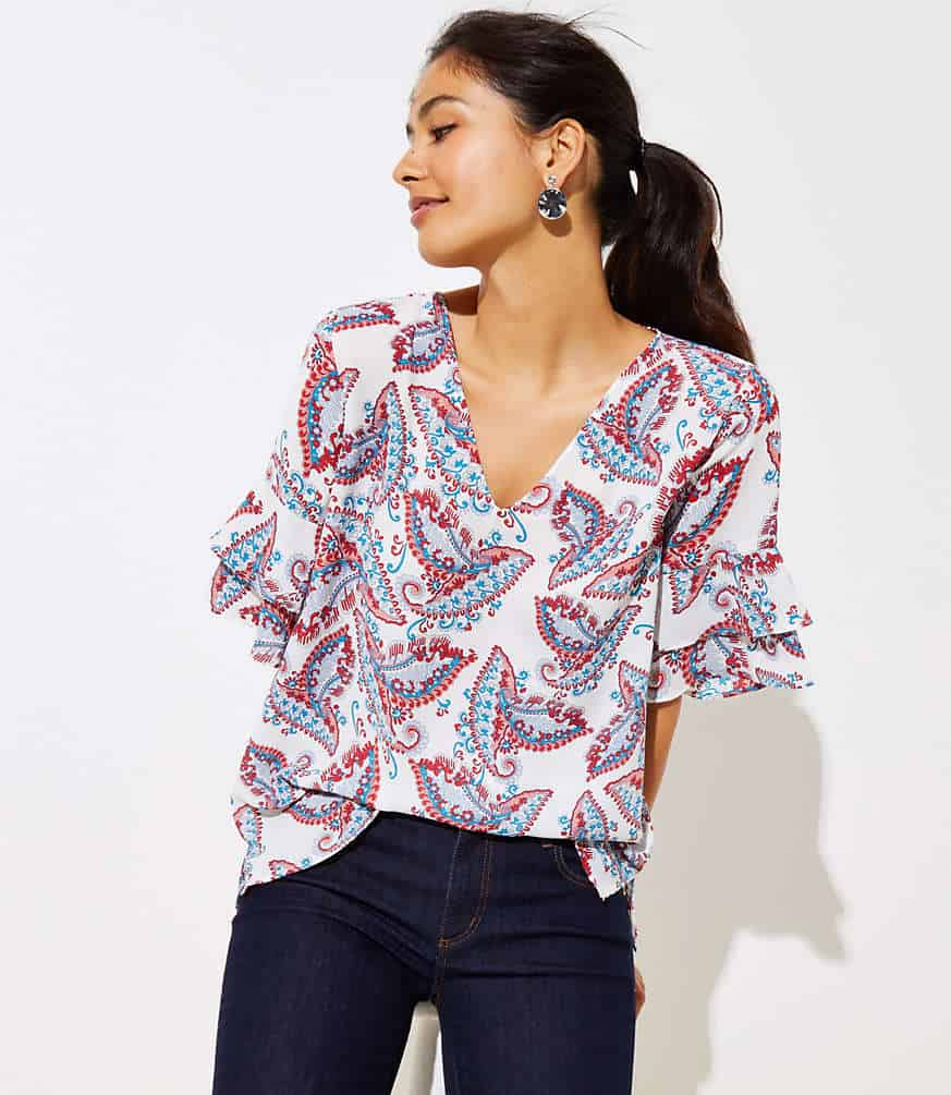 Love this paisley tiered bell sleeve top! So cute for summer!